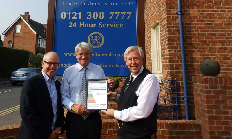 """Andrew Mitchell, MP, and Ian Hazel with local Councillor Meirion Jenkins (for Sutton, Four Oaks Ward) and """"A"""" rated Energy Performance Certificate (EPC)"""