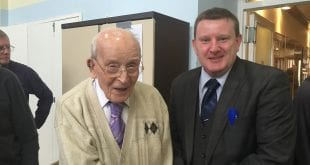 George Mulvenny with Charlie Monks, Funeral Planning Consultant, Anderson Maguire Funeral Directors