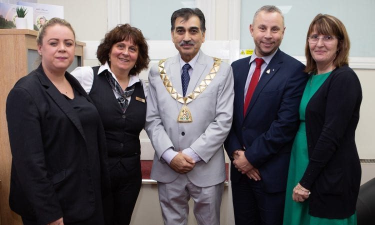 Mayor of Brent, councillor Arshad Mahmood, with the team from John Nodes Funeral Service at the re-dedication of its Cricklewood funeral home.   [L-R] Funeral arranger Nina Wilson, trainee funeral director Maria Garofalo, councillor Arshad Mahmood, Funeral Partners' acting regional development director Simon Hughes, area development manager Hayley Carney