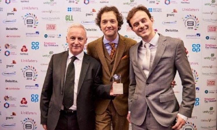 UK Scottish Enterprise Awards L-R Paul McColgan, founder, Caledonia Cremation; Chris Addison (awards host); John Halliday, co-founder Caledonia Cremation